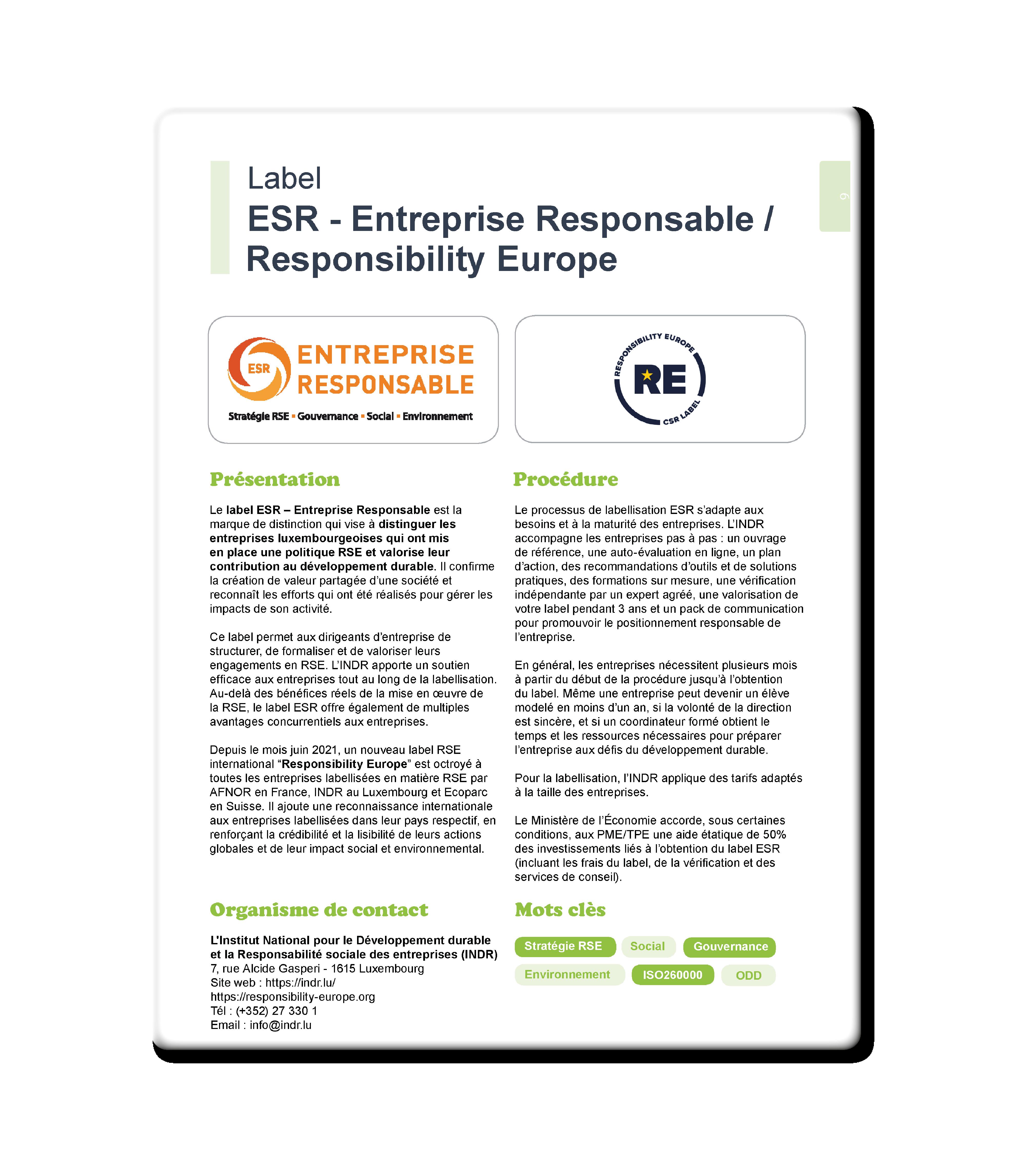 Label Entreprise Responsable 1 - Resources