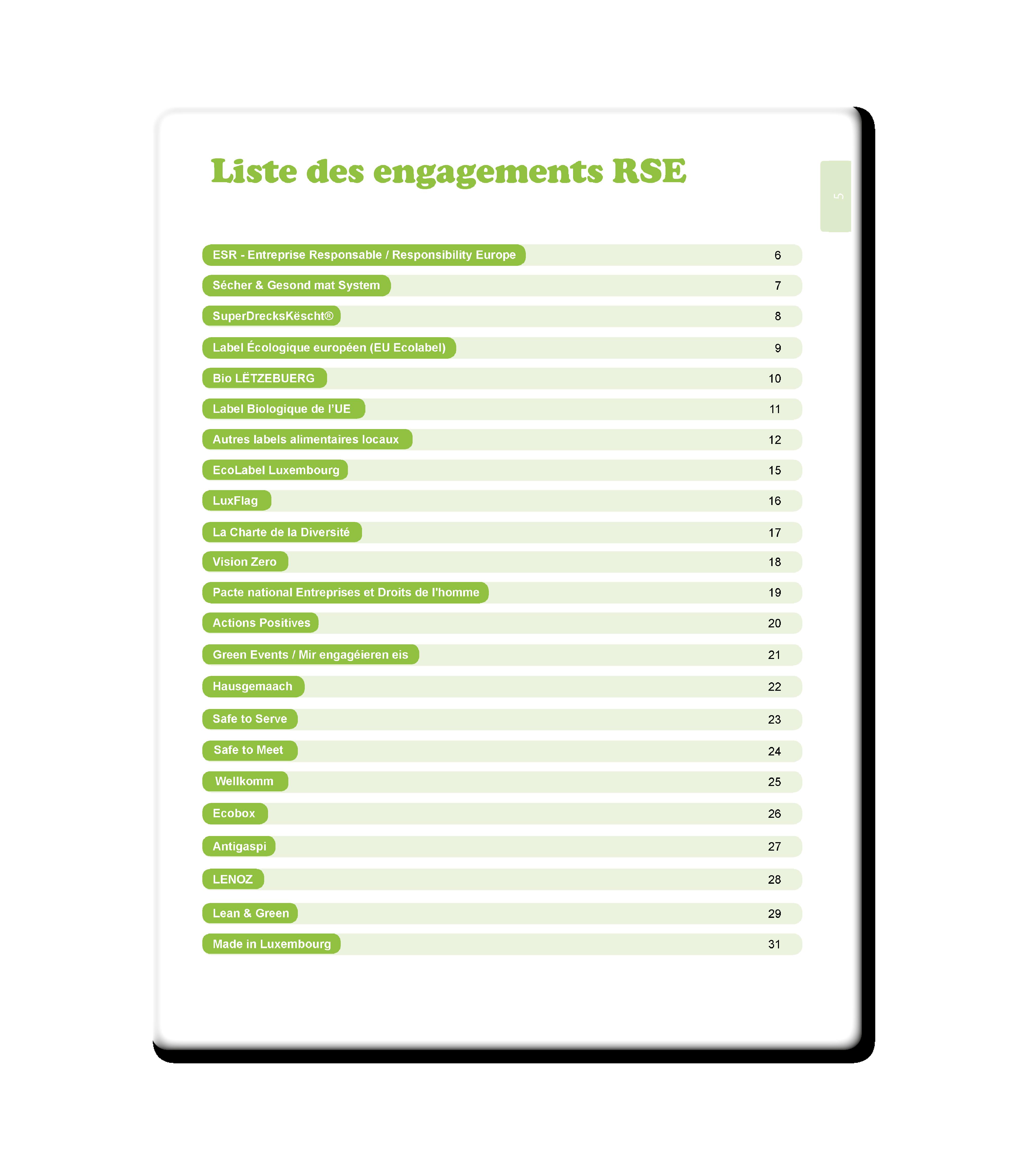 Liste des engagements RSE 1 - Resources